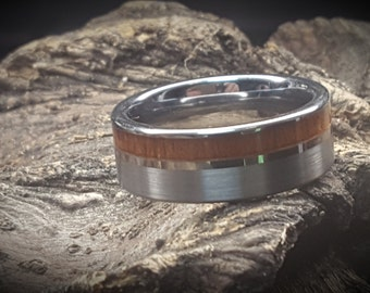REG 399.95 - 8mm Real Hawaiian KOA Wood Inlay over Silver Tungsten Steel with Wedding Comfort Fit Band, Vintage Wedding Engagement Promise