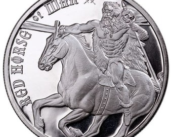 RARE COIN!  1oz .9999 Solid Silver Coin Red Horse Of War from The Four Horseman Of The Apocalypse Series (Precious Metal Options Avail.)