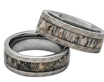 SAME DAY SHIPPING - Reg 399.00 - 8mm Deer Antler Ring in Tungsten Hammered Finish Comfort Fit Wedding Band for Men or Woman (Ring Size 5-18)