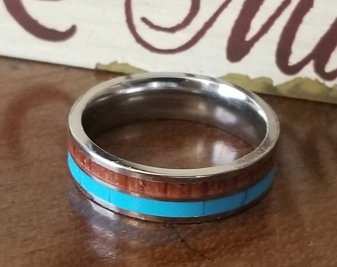6mm Natural Koa Wood and Turquoise Stone on Comfort Fit Tungsten Carbide (Wedding, Promise Ring, Engagement, Anniversary) US Ring Size 4-13