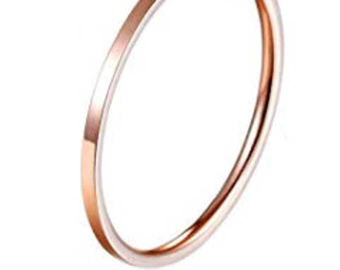 1MM Thin (ROSE GOLD) Stainless Steel Knuckle Midi Stacking Rings for Women Girls Plain Band Comfort Fit (Buy Bulk & Save Big)
