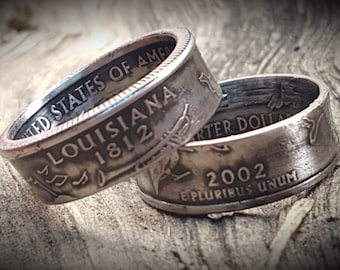 US State Quarter Coin Rings! Your choice of State, Size & Finish (Silver, 24k Gold, Rose Gold or Antiqued Patina!)