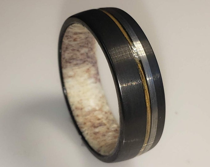 8mm Brushed Black Tungsten Carbide Band w/ Old No 7 Jack Daniels Whiskey Barrel Wood Inlay, Silver Trim & Authentic Deer Antler US Size 5-16