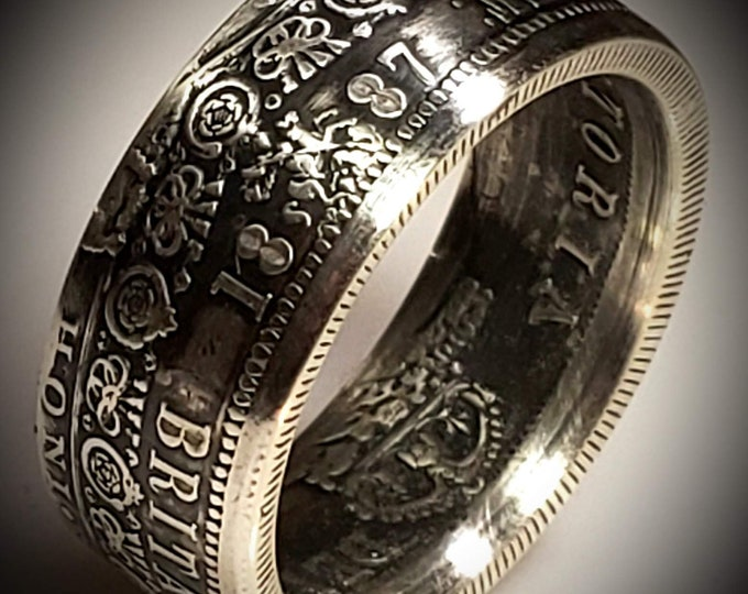 RARE 1887-1892 Great Britain Victorian Jubilee Silver Half Crown Coin Ring | US Sizes 4-24 wedding bands, boho rings, hand-forged heritage