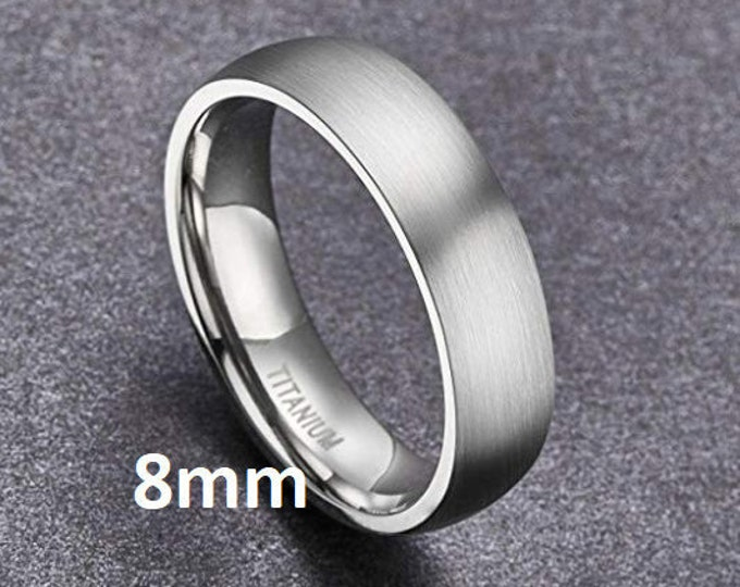 "Reg 215.95 - 8mm ""Hypoallergenic Gunmetal Gray CP-2 Grade Pure Titanium"" Brushed Comfort Fit Dome (Mens & Womens Engagement Wedding Band)"