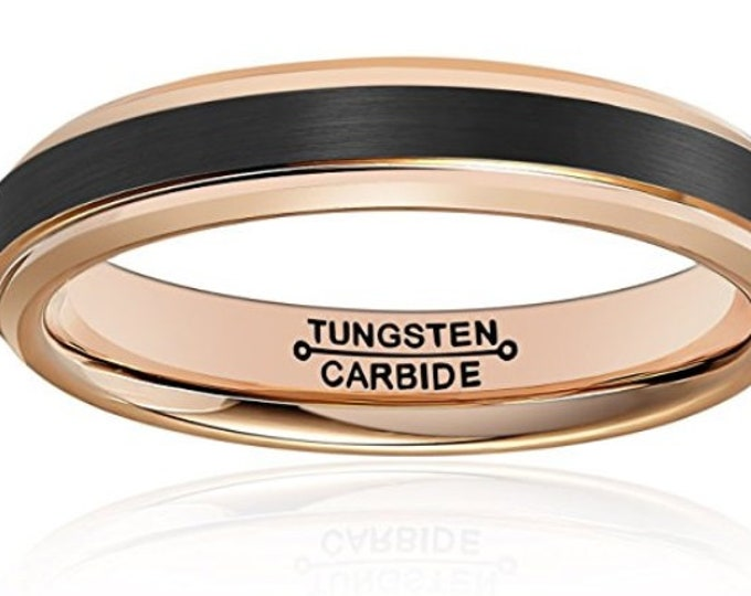REG 149.95 - 4mm Men's Black Brushed and Rose Gold Tungsten Carbide Wedding Band (Wedding, Promise, Engagement, Cocktail, Dinner Anniversary