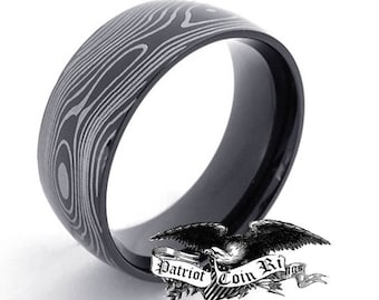 Reg 299.95 - 7mm Damascus Titanium Unisex Ring  (men or woman, wedding band replacement, anniversary ring, engagement ring, damascus style)