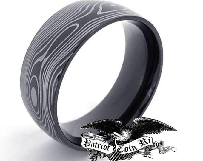 SAME DAY SHIPPING - Reg 500.00 - 7mm Damascus Titanium Stainless Steel Ring  (men or woman, wedding band replacement, gentleman's, cocktail)