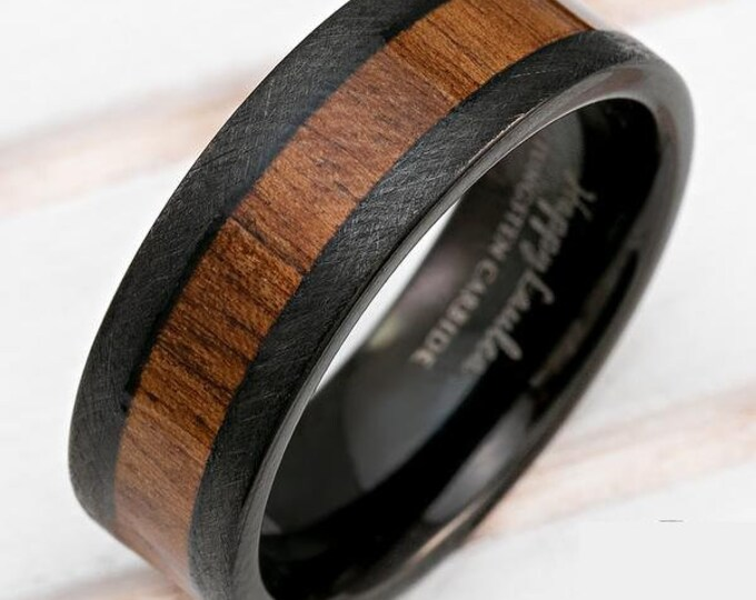 Custom Order for John Tupuola - 9mm Tungsten Carbide Black Band w/ Koa Wood Inlay and etched braid/hatch sides.