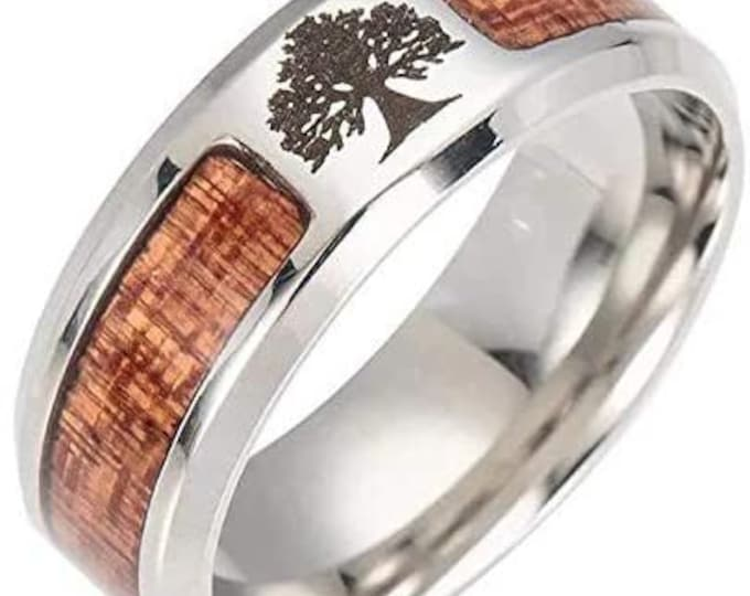 Titanium Band, Tree of Life Wood Ring, Unisex Ring, Wedding, Engagement, US Sizes 7-13