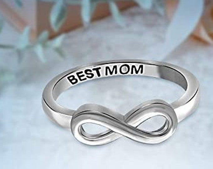 Sterling Silver Best Mom Infinity Band, Women's Ring, Mother's Day Gift, Eternity Knot Symbol Band, US Sizes  5-10.