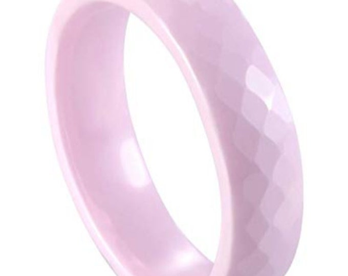 BREAST CANCER AWARENESS:  Pink 6MM Ceramic Honeycomb Faceted Diamond Cut Ring (Multiple Color Options Available!)