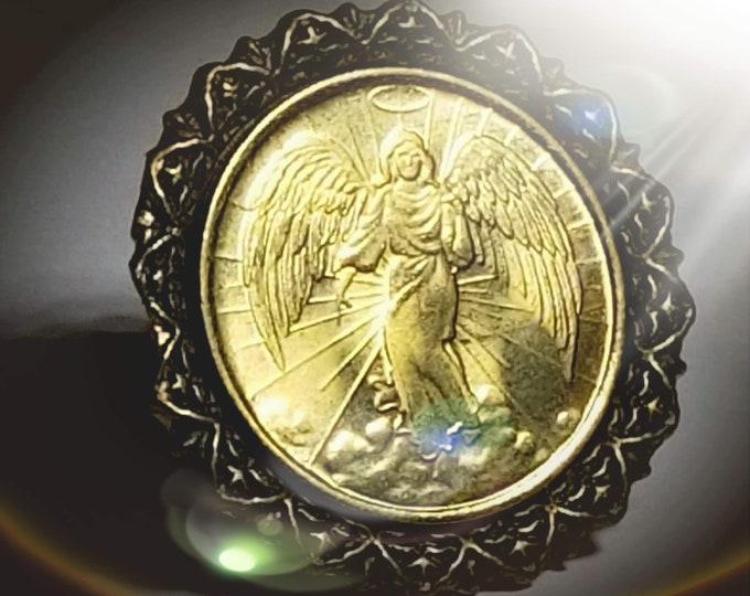 Antiqued Vintage Guardian Angel BRASS COIN RING (Patron Saint, Catholic, Christian, Religious, Catechism) Adjustable Band -One Size Fits All