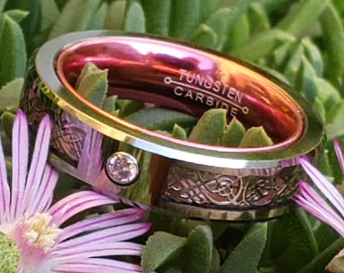 BREAST CANCER AWARENESS:  5mm Pink Carbon Fiber and Silver Celtic Inlay over Silver Tungsten Carbide and Pink Inner Band Pink Cubic Zirconia