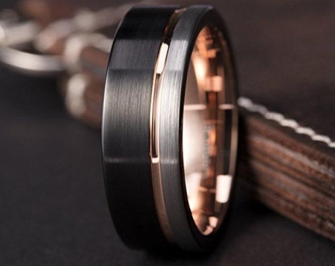 8mm (US Ring Sizes 7-16) Black & Silver Brushed Tungsten Carbide w/ 18k Rose Gold Wedding Band   Men's Wedding Bands, Engagement Rings,