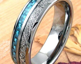 REG 379.95 - 8mm Silver Tungsten Meteor Dome Style & Sapphire Blue Carbon Fiber Inlay | valentines day, engagement, anniversary,wedding