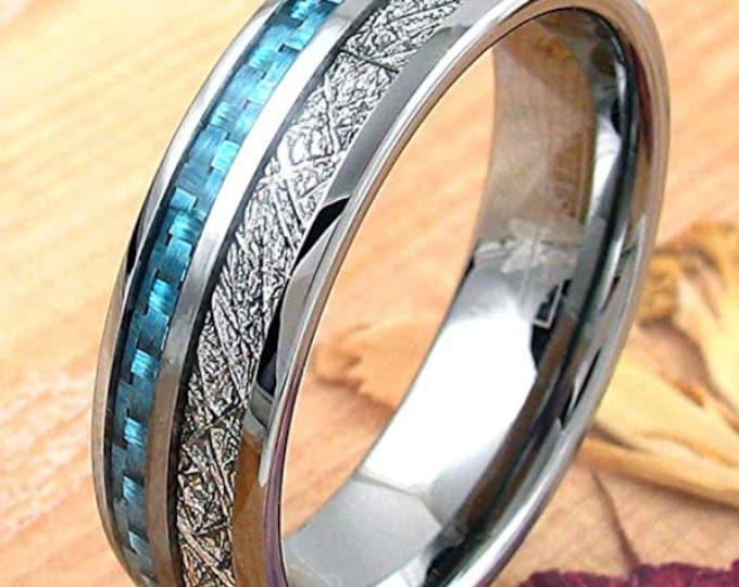 REG 379.95 - 8mm Silver Tungsten Meteor Dome Style & Sapphire Blue Carbon Fiber Inlay   valentines day, engagement, anniversary,wedding