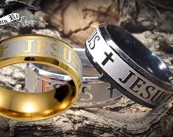 OVERSTOCK SALE!  8mm Jesus / Christian / Cross Stainless Ring (Choose between Black, Silver or 18k Gold)  spiritual, religious, God, Christ