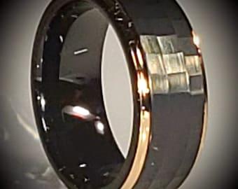 Reg. 499.95 8mm Black Alligator Tungsten Steel & Rose Gold Step Sides Wedding Band | Engagement Ring | Anniversary (US Size 5-15) #111