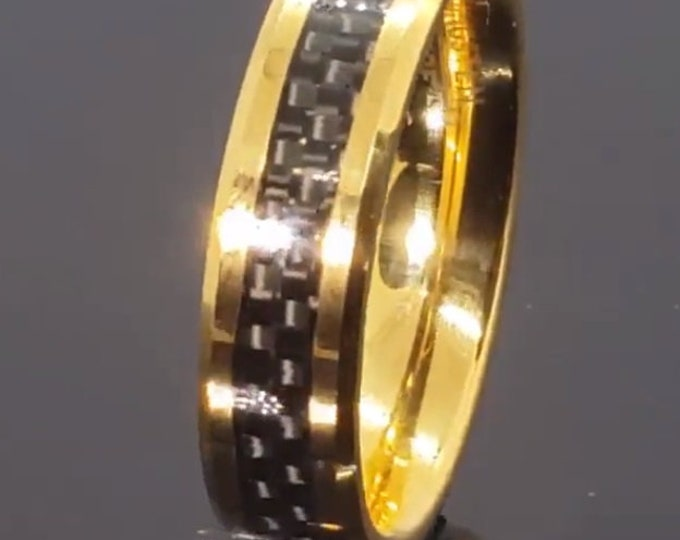 REG 299.99 - 6mm wide 18K Gold Tungsten w/ Black Carbon Fiber Inlay Ring w/ Beveled Edges (Wedding, Engagement, Anniversary) US Size 4-15