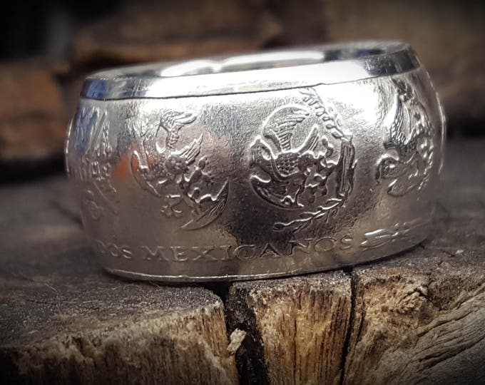 2000-2018 .999 Pure SILVER MEXICAN LIBERTAD -  hand-crafted into a beautiful Coin Ring w/ Dome Shape Walls | wedding band | engagement rings