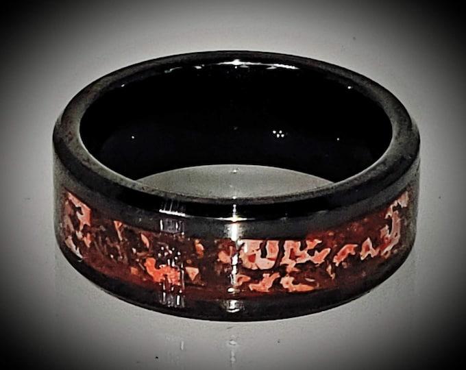 REAL T-Rex DINOSAUR Bone Ring!  Red Cell Agatized Fossil Bone | 8mm Beveled Black Ceramic Ring | Wedding Ring | Jurassic Park | US Size 3-18