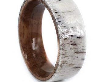 REG 399.95 - 8mm Nature Inspired Koa Wood Sleeve and Deer Antler Outer Band Fashioned Ring.  (eg. wedding, engagement, men or woman unisex)