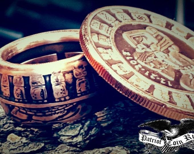 Mayan Aztec Calendar Coin Ring (1 Troy Ounce .999 Copper Bullion Coin)