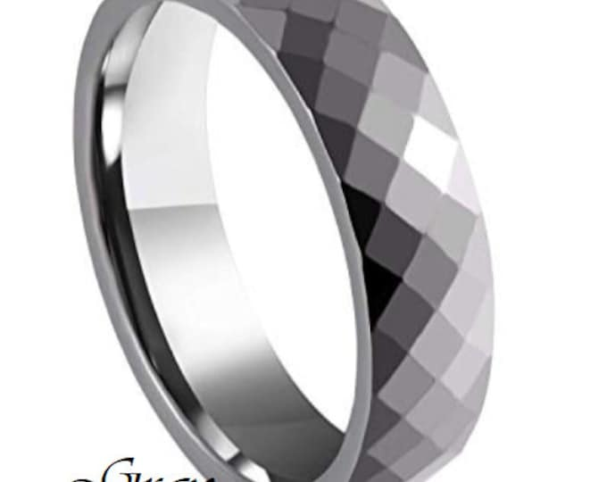 GRAY 6MM Ceramic Honeycomb Faceted Diamond Cut Ring (Multiple Color Options Available!)