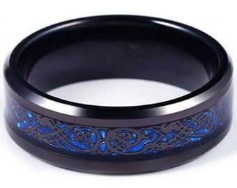 8mm Black Titanium Band with Black over Blue Celtic Dragon Titanium Classic Wedding Band (Good Luck Ring) US Ring Size 7-14