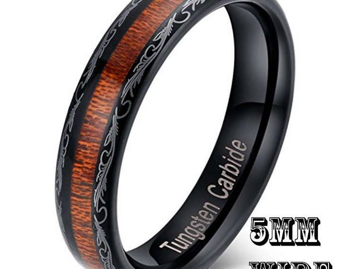 Reg 175.00 - 5mm Real country wood inlay on hard Black Tungsten Carbide Dome Ring Wedding Band Comfort Fit (Western Cowboy Engraving) Ladies