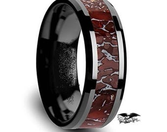 Reg 1450.00 - REAL TRIASIC DINOSAUR Bone Ring!  Plesiosaurus Red Agatized Fossil | Ceramic Black Ring w/ Beveled Sides | Wedding Ring | 8MM