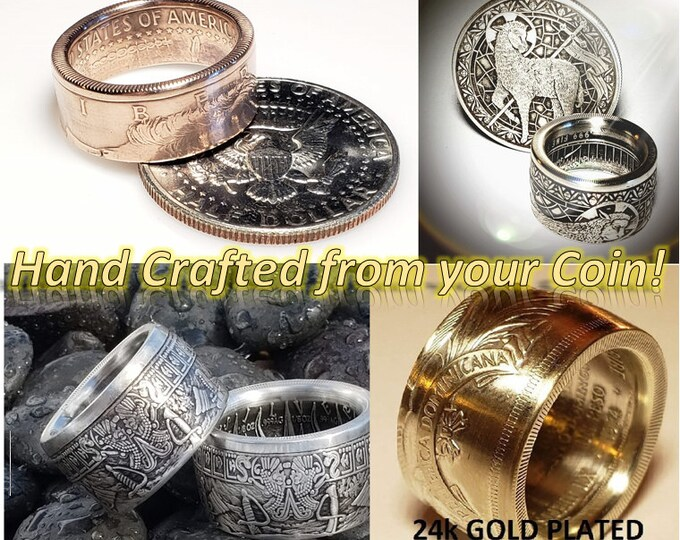 YOUR COIN CONVERTED!  You provide the coin, I'll convert it into a piece of art to wear for life.  Bezel Rings, Coin Rings, Anniversary Band
