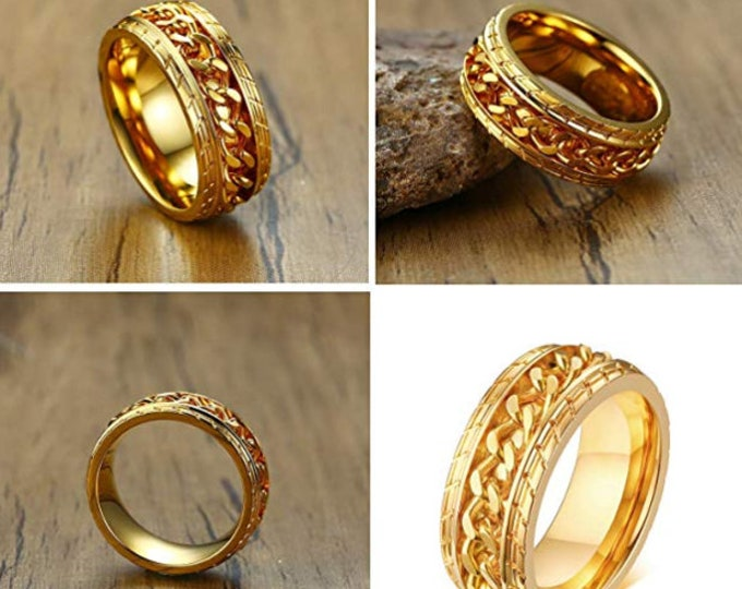8mm Titanium 18K Gold Biker Ring w/ Tire Pattern Cuban Chain Link Spinner Ring for Men or Women US Size 7-12 | Motorcycle Band Wedding Rings