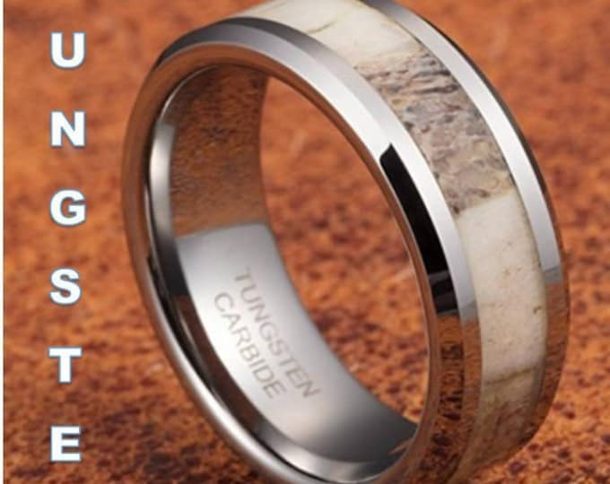 8mm Beveled TUNGSTEN w/ Authentic Deer Antler Inlay and Water Resistant Clear Coating  (US Ring Sizes 6-16)  Wedding Bands, Engagement Rings