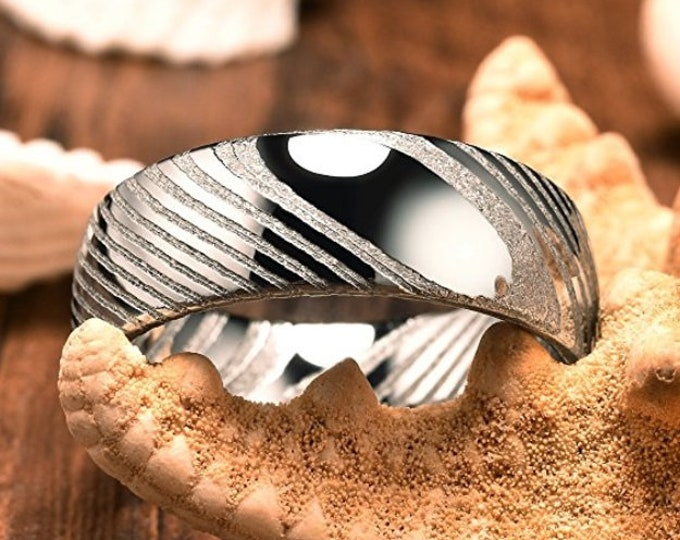 REG 599.95 - 8mm Hand Forged Damascus Steel Mens Wedding Ring Dome Bold Wedding Band   Engagement   Anniversary   US Sizes 7-16