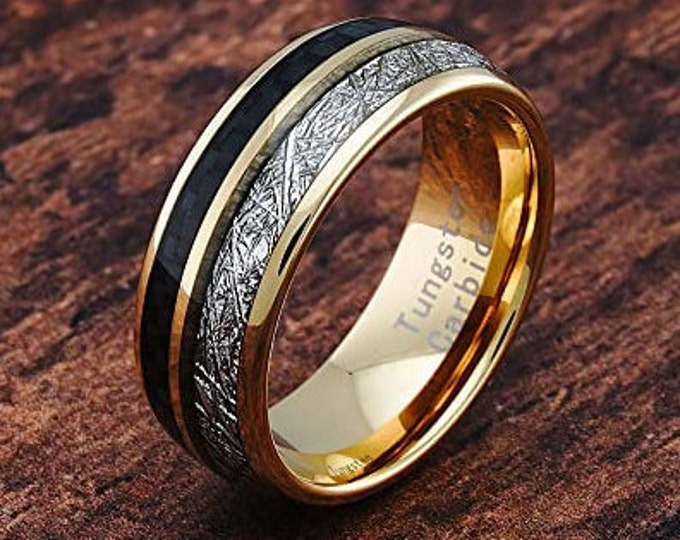 8mm 14K Gold Plated Tungsten Meteorite Ring,Dome Style,Carbon Fiber Inlay,engagement,anniversary,wedding rings,US Sizes 6-16.
