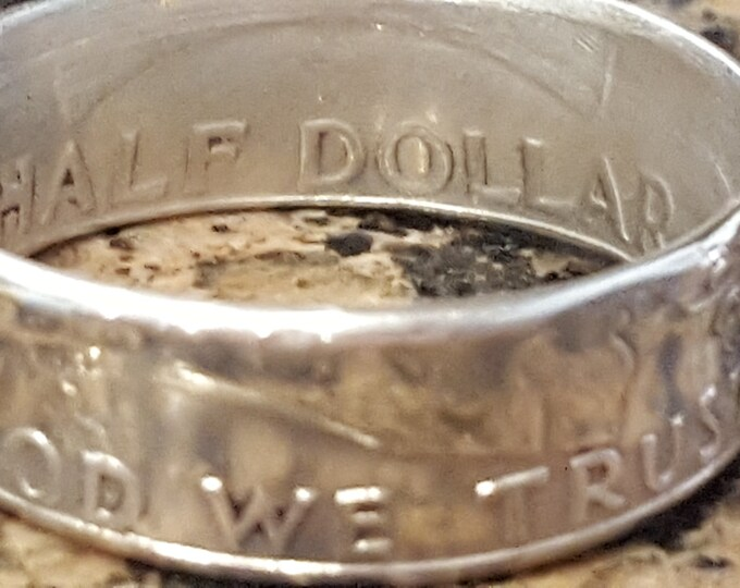 1948 - 1963 Benjamin Franklin Silver Half Dollar Coin Ring w/ Mirror Finish | Double Sided | Straight Wall | Comfort Fit Sides