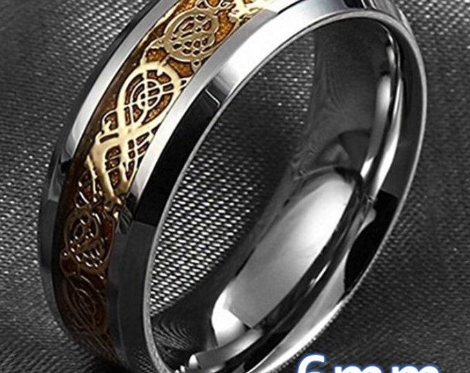 Reg 199.99  6mm Silver/Gold Celtic Dragon Titanium Classic Wedding Band (Good Luck Ring) US Size 4-14