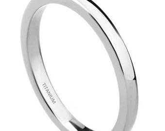 2mm Unisex Classic Dome Style Titanium Wedding Band w/ Comfort Fit (Mens / Ladies / Womens Engagement, Promise, Round Ring, Silver Titanium)