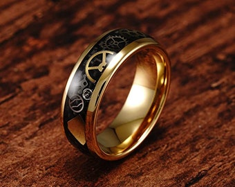 8mm Gold Steampunk Gear Wheel Tungsten Ring, Wedding Rings, Unisex Rings, Carbon Fiber Inlay, Comfort Fit, US Sizes 6-16.