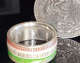 "Estados Unidos Mexicanos ""COIN RING"" Mexican Pure Silver 1/2 oz (half onza) Libertad w/ Proud Colors and Crest of Mexico.  Powder Coated!!!"