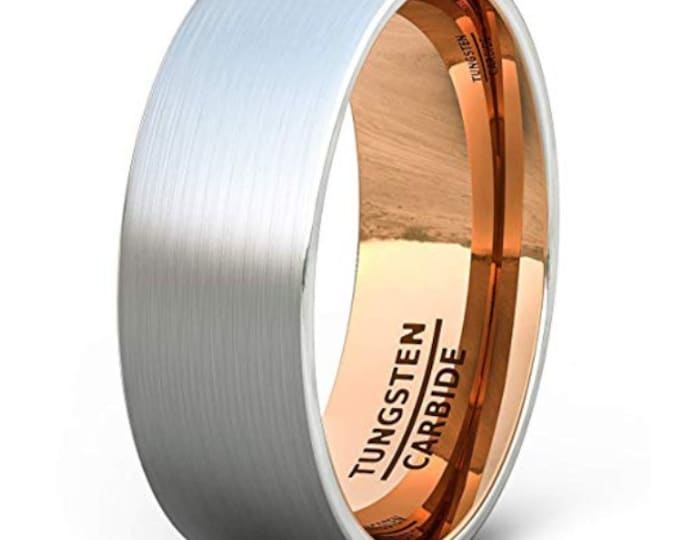 8mm Tungsten Carbide Band in Brushed Gun Metal Grey w/ Rose Gold Inner Band - Comfort Fit -  US Size 7-13 (Mens & Womens Engagement Ring)