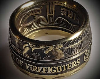 Firefighters Coin Ring! Optional Antique Patina & Bronze, Precious Metal Plating, Powder Coated (see pics) anniversary gift, engagement band