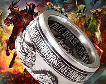 LIMITED EDITION: The Four Horseman Of The Apocalypse Series .999 Solid Silver Coin Ring (1oz Ounce Silver) - Reverse Side Out!