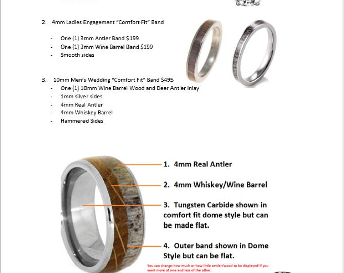 CUSTOM ORDER for Cassie - 3pcs Wedding Band Set per customer instruction