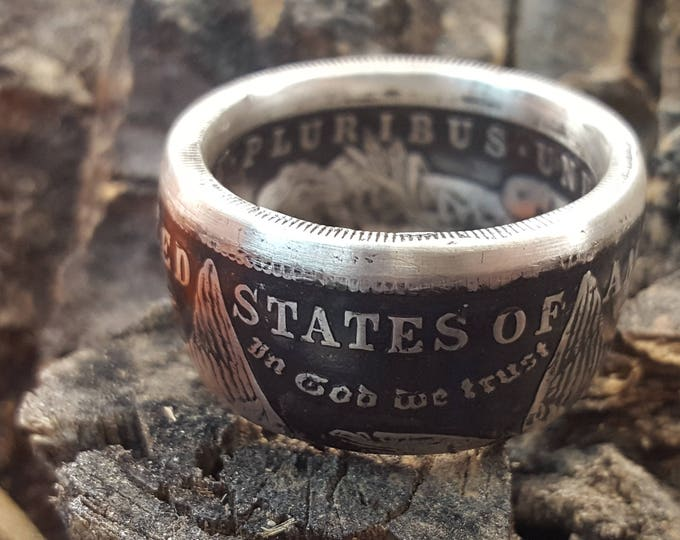 """Morgan Silver Dollar (90% Pure Silver) """"First Year Ever Made"""" (oldest Morgan you can buy) Converted to a double sided Coin Ring"""