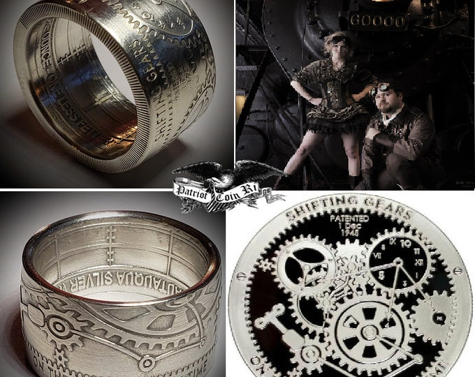 Shifting Gears On Perception Of Time .999 Pure Silver Coin Ring Size 5-18  (T.I.M.E. Series #1) Steampunk, Gearheads