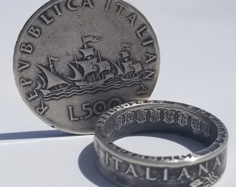 Big Italian Coin Ring Vulcan in Sterling Silver Made in NYC