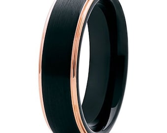 REG 299.99 - 6mm Men's Black Brushed and Rose Gold Tungsten Carbide Wedding Band (Wedding, Promise, Engagement, Cocktail, Dinner Anniversary
